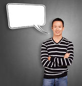 Asian Man In Striped with Speech Bubble — Stock Photo