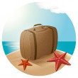 Suitcase At The Sea Beach — Stock Vector