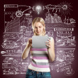 Idea Concept Businesswoman With Touch Pad — Stock Photo #27480287