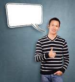 Asian Man In Striped with Speech Bubble — Stockfoto