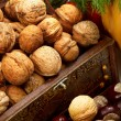 Chest with walnuts — Stok fotoğraf