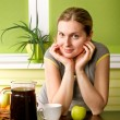 Cute Pregnant Woman On Kitchen — Stock Photo #30706663