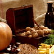 Still Life with Chest, Nuts, Pumpkin, Bread — Stock Photo