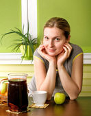 Cute Pregnant Woman On Kitchen — Stock Photo