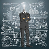 Lamp Head Businessman In Suit — Stock vektor