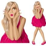 Vector Surprised Blonde in Pink Dress — Stock Vector #31451901
