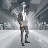 Lamp Head Man With Laptop — Vector de stock