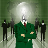 Lamp Head Businessman In Suit — ストックベクタ
