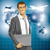 Vector Businessman With Laptop — Stock vektor