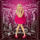 Vector Surprised Blonde in Pink Dress — Vecteur