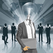Lamp Head Man With Laptop — Vetorial Stock
