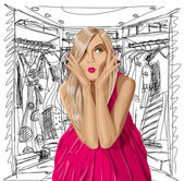 Vector Surprised Blonde in Pink Dress — Stockvector