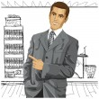 Business Man With Pointing Finge — Stock Vector #32120589