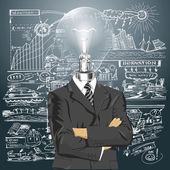 Lamp Head Businessman In Suit — Stock Vector