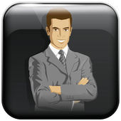 App Icon With Business Man — Stock Vector