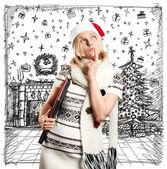 Noel için bekleyen kadın — Stok fotoğraf