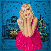 Vector Surprised Blonde in Pink Dress — Stock vektor