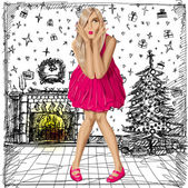 Vector Surprised Blonde in Pink Dress — Vettoriale Stock