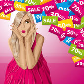 Vector Surprised Blonde in Pink Dress — Stockvektor