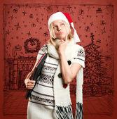 Mulher espera para o natal — Foto Stock