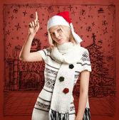 Vrouw te wachten voor de kerst — Stockfoto