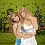 vettore coppia di donne gay — Vettoriale Stock