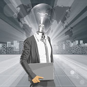 Lamp Head Man With Laptop — 图库矢量图片