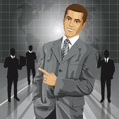 Business Man With Pointing Finge — Stock Vector
