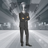 Lamp Head Businessman In Suit — Vector de stock