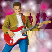 Punk With The Guitar — Stock Vector