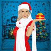 Vector Woman Waiting For Christmas — Vector de stock