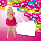 Vector Surprised Blonde in Pink Dress — Vector de stock