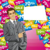 Business Man With Pointing Finge — Stockvector