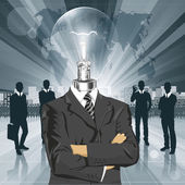 Lamp Head Businessman — Stockvektor