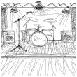 Sketch background with music — Image vectorielle