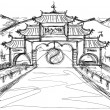 Background with china — Vektorgrafik