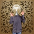 Hipster Lamp Head Man — Stockfoto