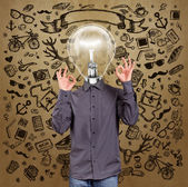 Hipster Lamp Head Man — Stock Photo