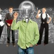 Business Team With Lamp Head — Stock Photo #35967013