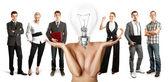 бизнес-группа с головой лампа — Стоковое фото