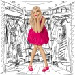 Vector Surprised Blonde in Pink Dress — Vettoriali Stock