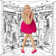 Vector Surprised Blonde in Pink Dress — Stockvectorbeeld