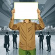 Man With Write Board Against His Head — Imagen vectorial