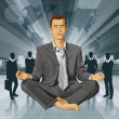 Vector Businessman in Lotus Pose Meditating — ベクター素材ストック