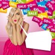 Vector Surprised Blonde in Pink Dress — Image vectorielle