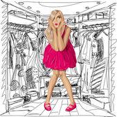 вектор удивлен блондинка в розовом платье — Cтоковый вектор