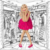 Vektor förvånad blondin i rosa klänning — Stockvektor