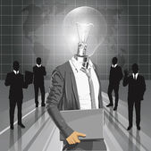 Lamp Head Man With Laptop — Stockvector
