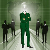 Lamp Head Businessman In Suit — Cтоковый вектор