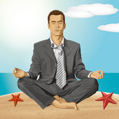 Vector Businessman in Lotus Pose Meditating — Stock Vector